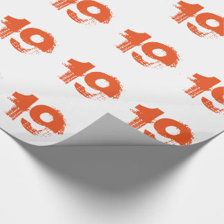 19th birthday for anyone, orange on white. wrapping paper
