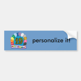 19th Birthday Gifts with Assorted Balloons Design Bumper Sticker