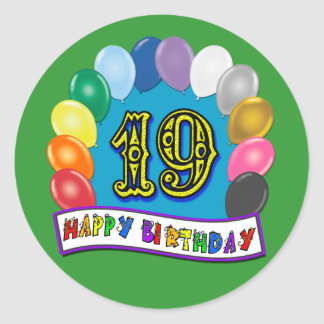 19th Birthday Gifts with Assorted Balloons Design Round Sticker