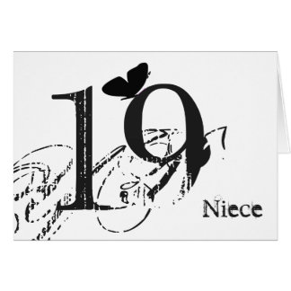 19th birthday, niece, butterfly, black & white. greeting card