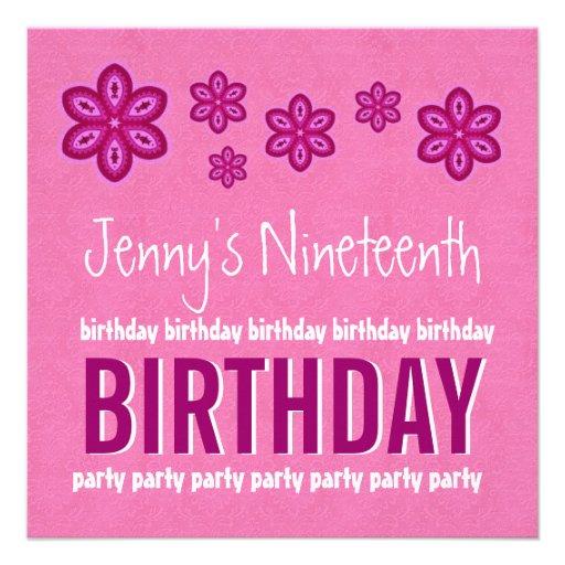 19th Birthday Pink Flowers Teen Girl Custom Name Announcement