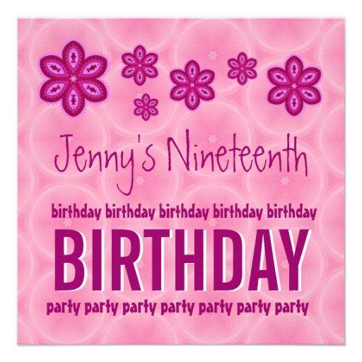 19th Birthday Pink Flowers Teen Girl Custom Name Custom Invitations