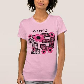 19th Birthday Pink Zebra Custom Name V025A4J8 T-Shirt