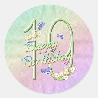 19th Birthday Rainbow and Butterflies Round Sticke Round Sticker