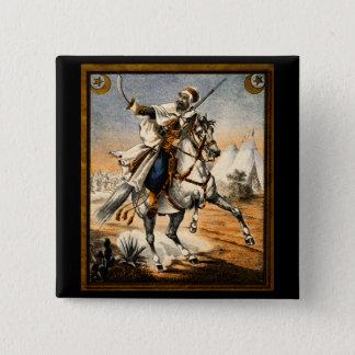 19th C. Arabian Warrior 2 Inch Square Button