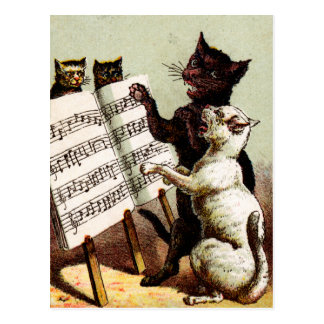 19th C. Singing Cats Post Cards