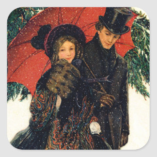 19th C. Young Couple in Winter Square Sticker
