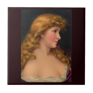 19th century beautiful woman with long hair tile
