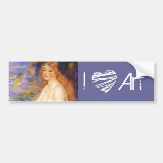 19th Century Blonde Bather Painting I Heart Art Car Bumper Sticker