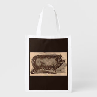 19th century farm animal print Berkshire sow breed Reusable Grocery Bag