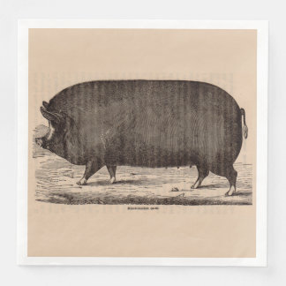 19th century farm animal print Berkshire sow pig Disposable Napkins