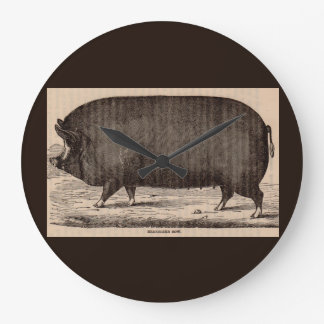 19th century farm animal print Berkshire sow pig Large Clock