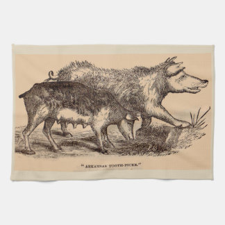 19th century farm animal print pigs kitchen towel