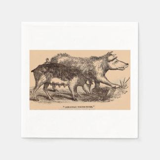 19th century farm animal print pigs print paper napkin