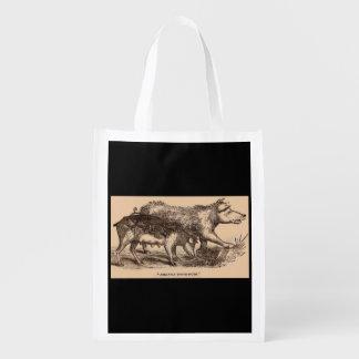 19th century farm animal print pigs print reusable grocery bag