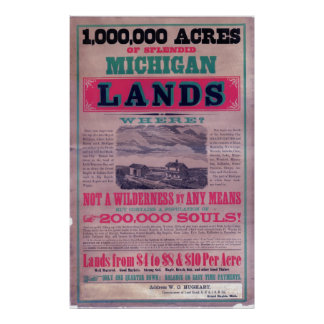 19th Century Grand Rapids Railroad  Broadside Poster