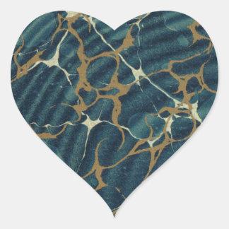 19th century marbled paper2 heart sticker