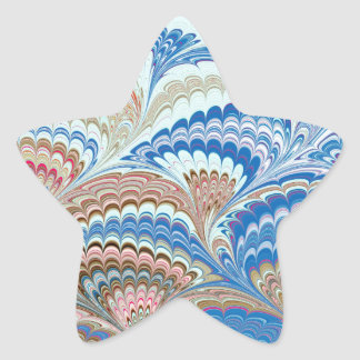 19th Century Marbled Paper 6 Motif Star Sticker