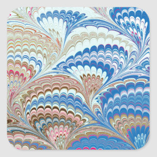 19th Century Marbled Paper 6 Motif Square Sticker