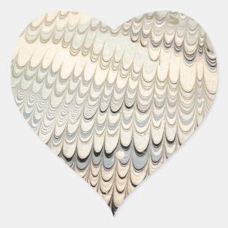 19th century marbled paper 7 Motif Heart Sticker