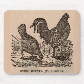 19th century print Bucks County fowls chickens Mouse Pad