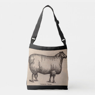 19th century print Cotswold sheep Crossbody Bag