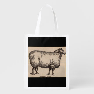 19th century print Cotswold sheep Reusable Grocery Bag