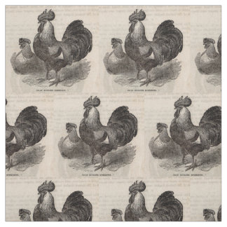 19th century print grey English dorkings chickens Fabric