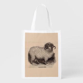 19th century print Highland sheep Reusable Grocery Bag