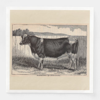 19th century print Holstein bull Disposable Napkin