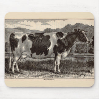 19th century print Holstein bull Mouse Pad