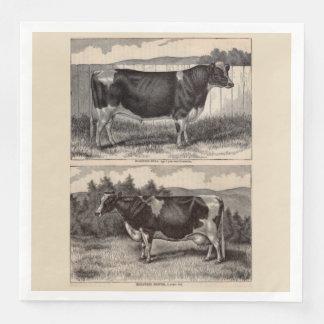 19th century print Holstein bull Paper Napkins