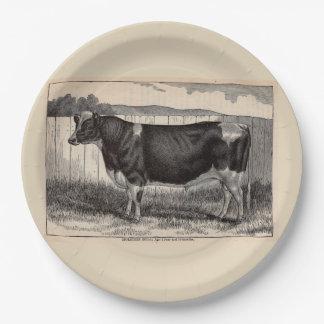 19th century print Holstein bull print 9 Inch Paper Plate