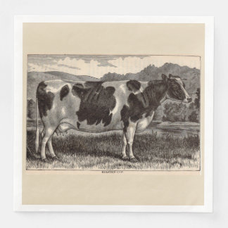 19th century print Holstein cow Disposable Napkin