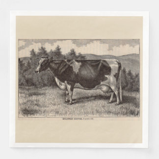 19th century print Holstein heifer Paper Napkin
