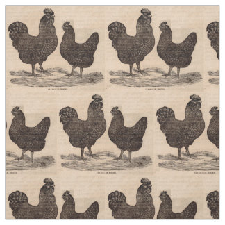 19th century print Plymouth Rock hen and rooster Fabric