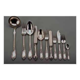 19th century silver cutlery, Warsaw, Poland Poster