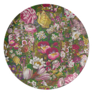 19th Century Victorian Floral Party Plates