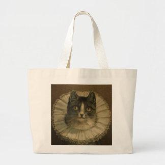 19th Century Vintage Cat Painting Custom Jumbo Tote Bag