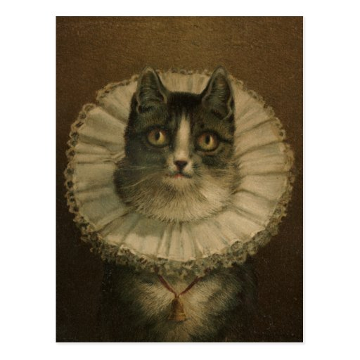 19th Century Vintage Cat Painting Post Card