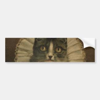 19th Century Vintage Cat Print Close Up Car Bumper Sticker