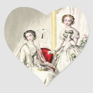 19th Century Wedding Heart Sticker