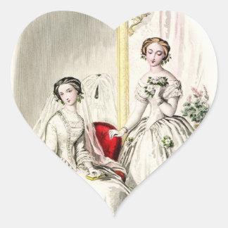 19th Century Wedding Heart Sticker