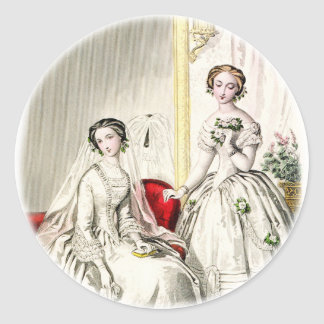 19th Century Wedding Round Sticker