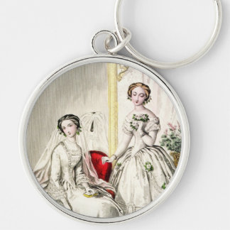 19th Century Wedding Silver-Colored Round Keychain