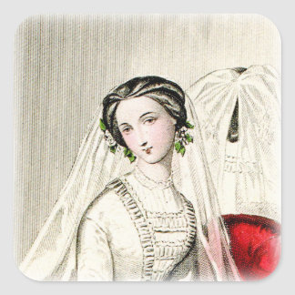 19th Century Wedding Square Sticker