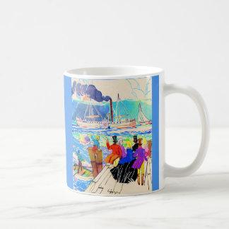19th century yacht race print coffee mug