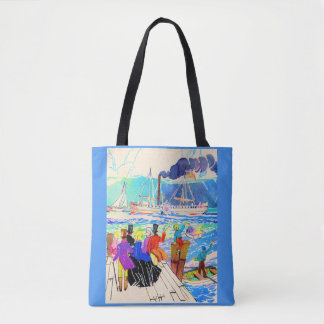 19th century yacht race print tote bag