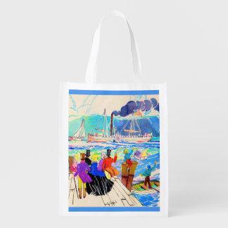 19th century yacht race reusable grocery bag