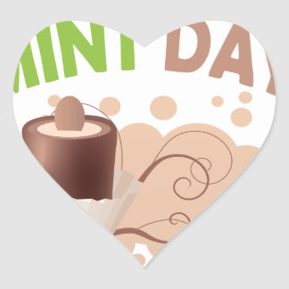 19th February - Chocolate Mint Day Heart Sticker